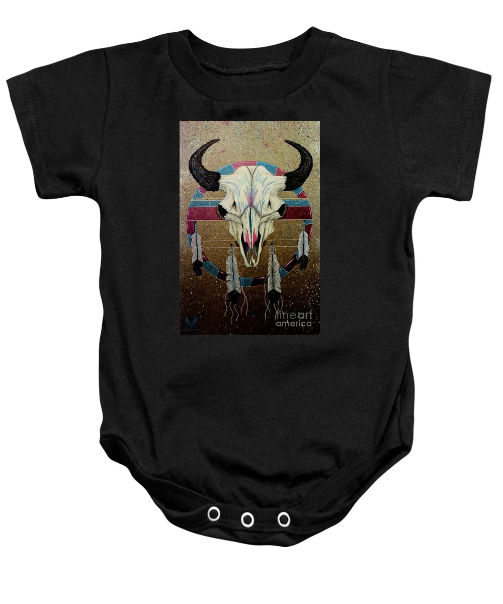 Native American Baby Onesie featuring the painting Remembering Thunder by Dale Crum