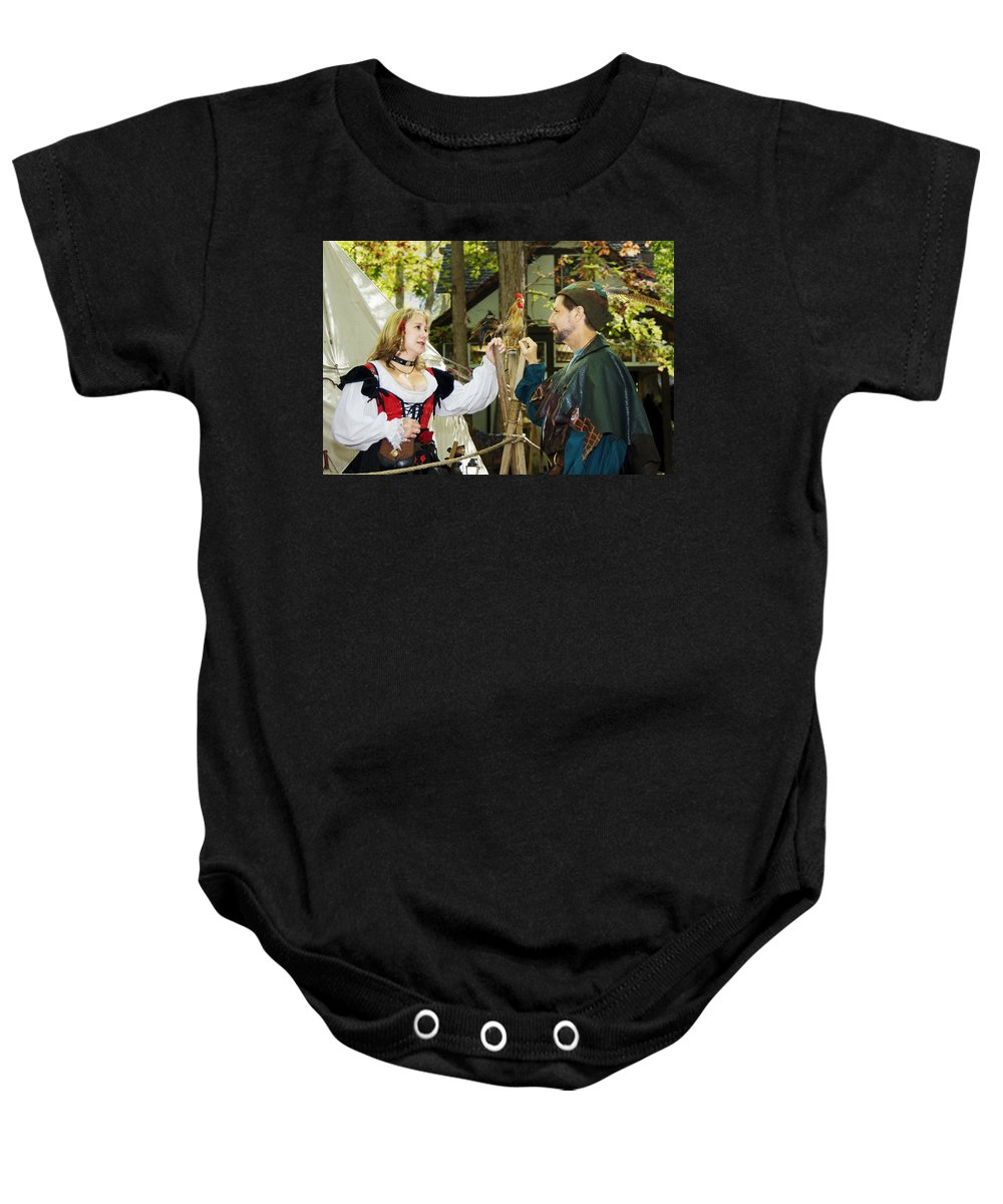 Actors Baby Onesie featuring the photograph Renaissance Faire With Hen by Francesa Miller