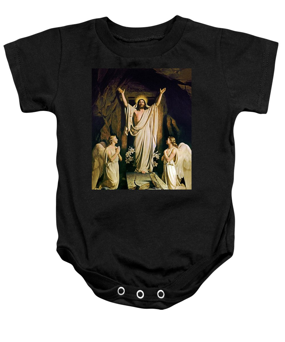 Resurrection Baby Onesie featuring the painting Resurrection by Carl Heinrich Bloch
