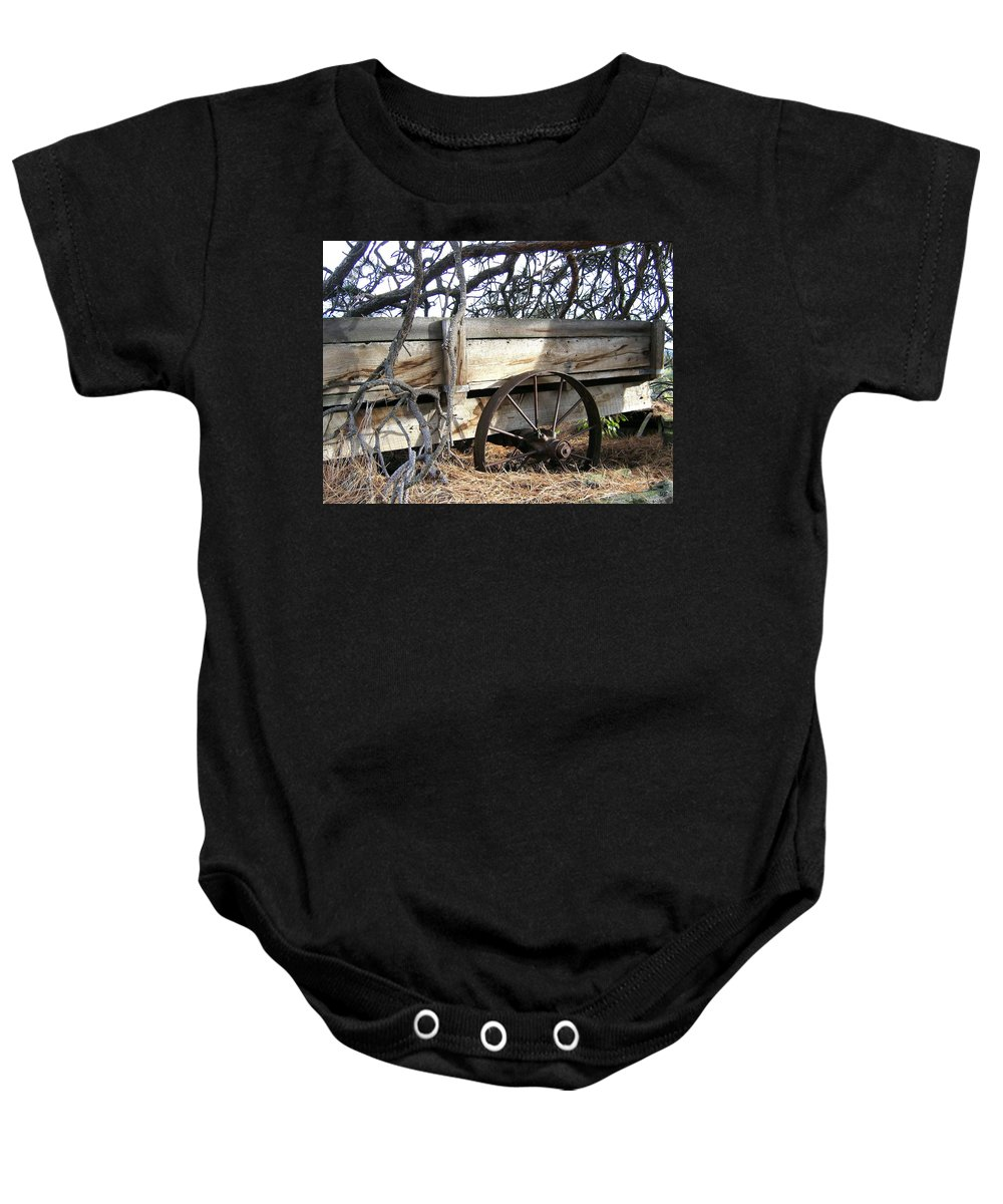 #retiredfarmwagon Baby Onesie featuring the photograph Retired Farm Wagon by Will Borden