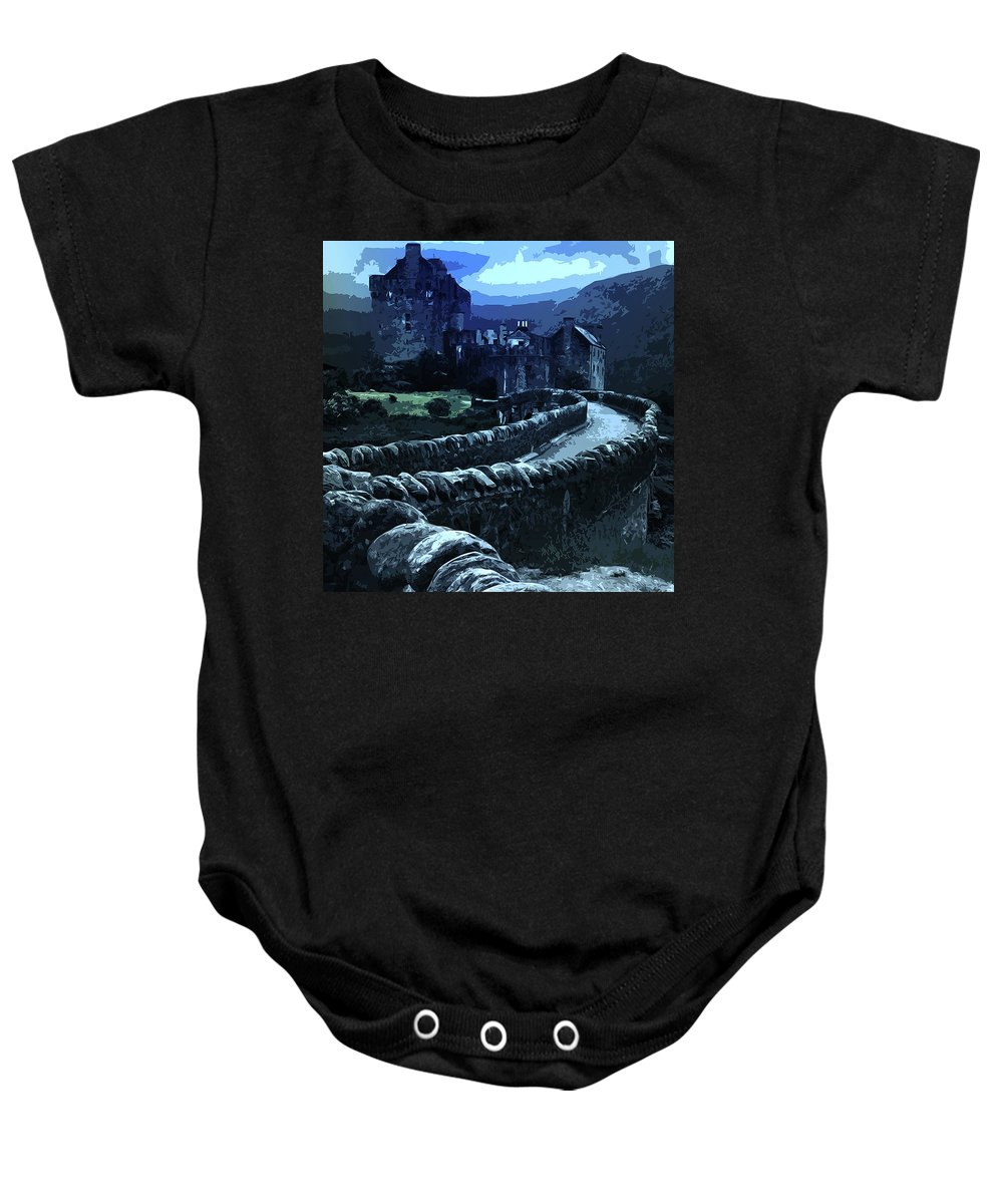 Misterious Landscape Baby Onesie featuring the painting Return To The Dark Tower by Andrea Mazzocchetti