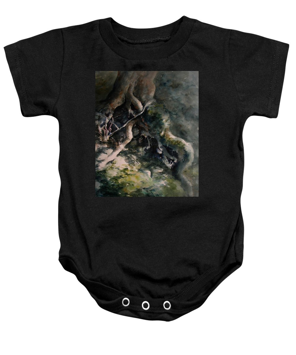 Nature Baby Onesie featuring the painting Revealed by Rachel Christine Nowicki