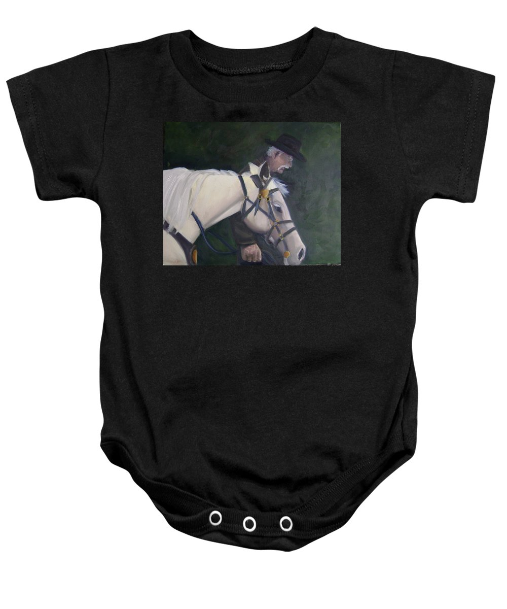 Old Man Horse... Baby Onesie featuring the painting revised- Man's Best Friend by Toni Berry