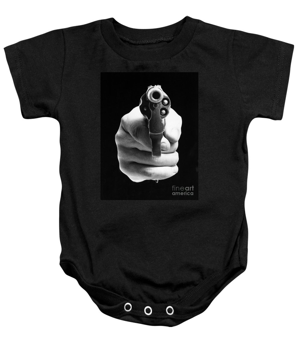 20th Century Baby Onesie featuring the photograph Revolver Aimed At You by Granger