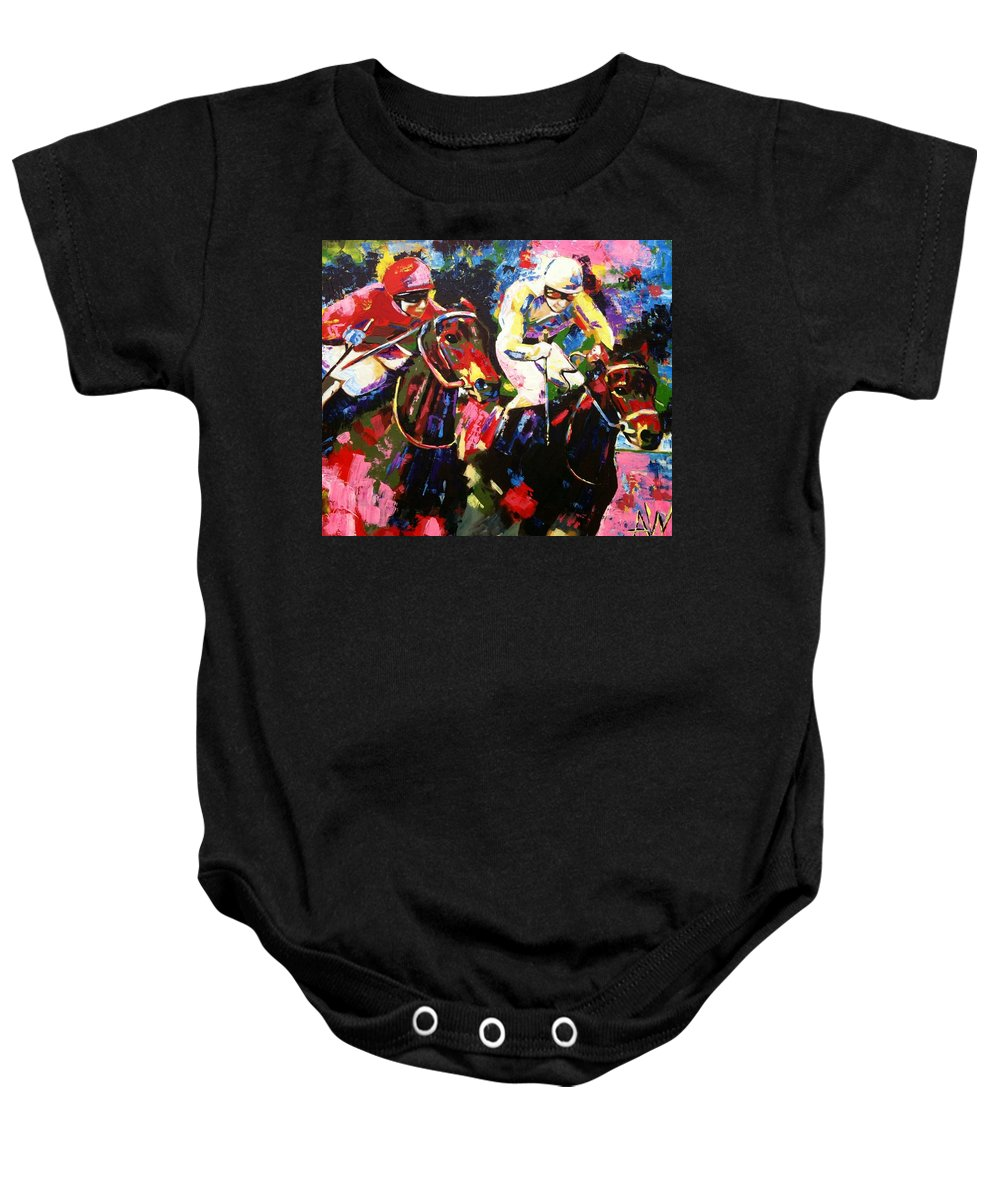 Horse Baby Onesie featuring the painting Ride To Glory by Angie Wright