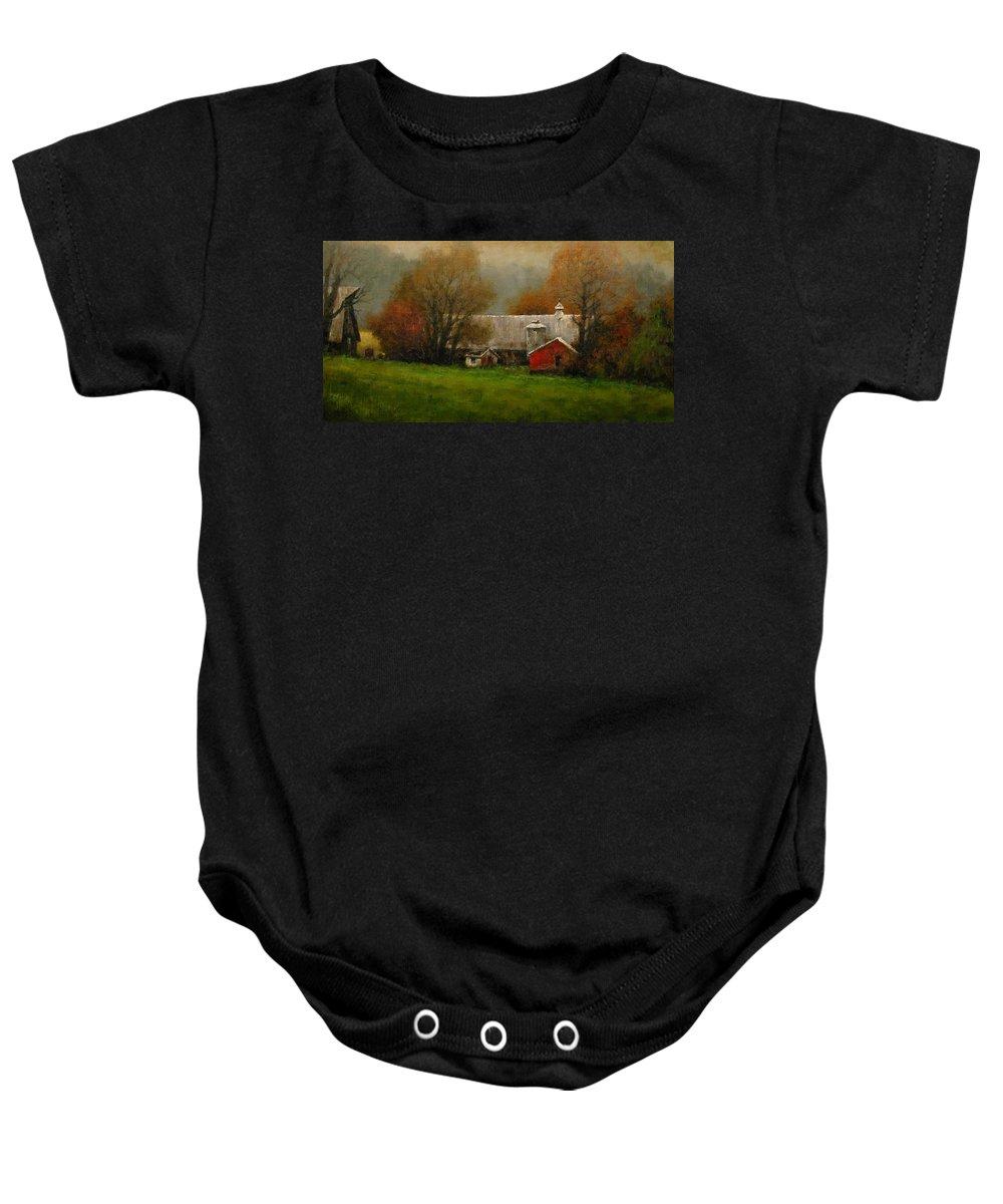 Farm Baby Onesie featuring the painting Ridgefield Farm by Jim Gola