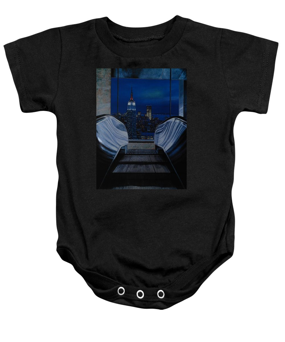 Lithograph Baby Onesie featuring the photograph Right To The Top by Rob Hans