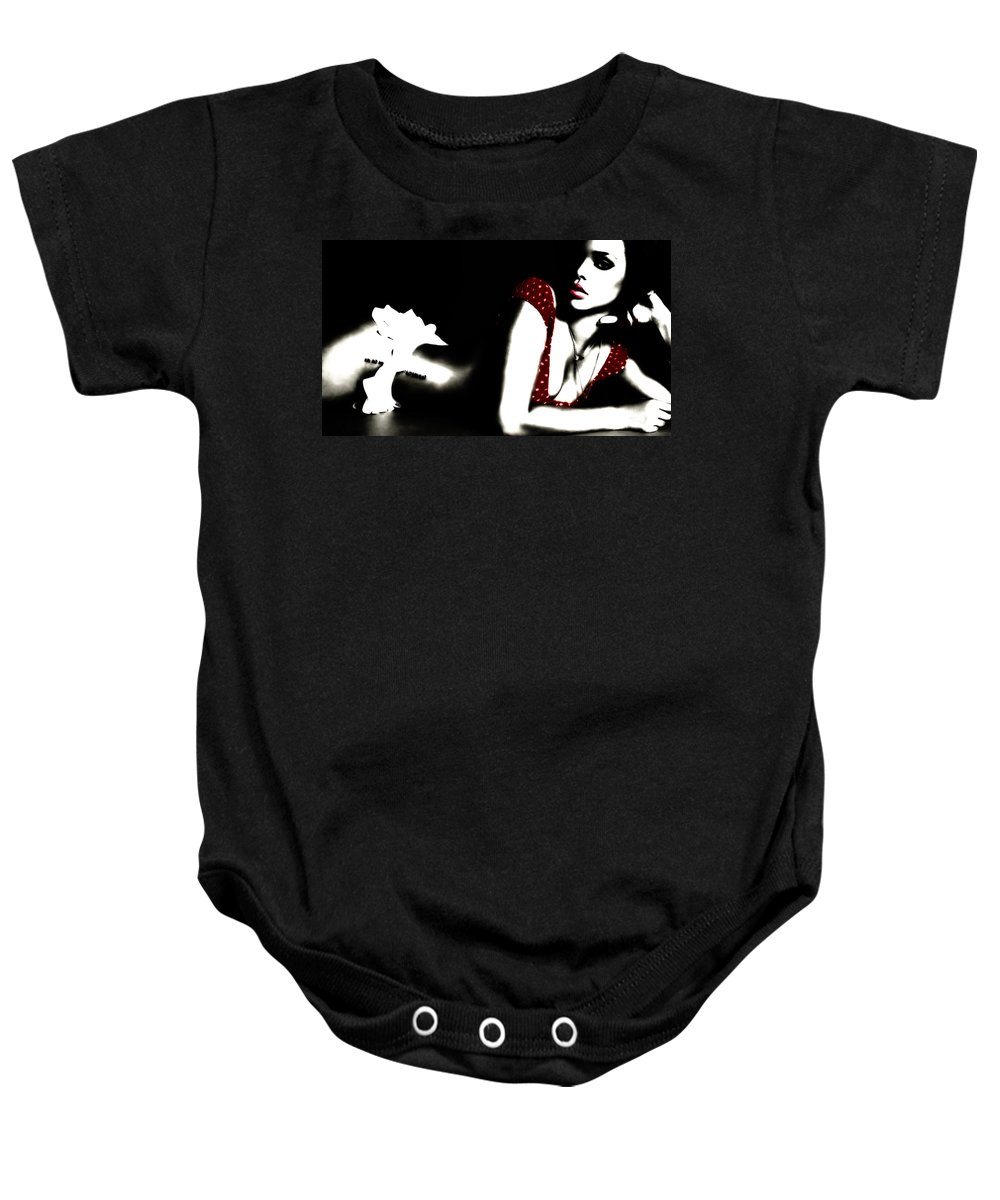 Rihanna Baby Onesie featuring the digital art Rihanna In Red by Brian Reaves