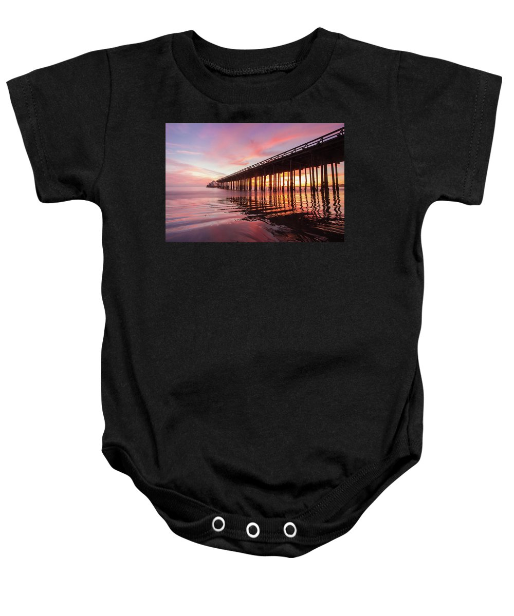Sunset Baby Onesie featuring the photograph Rippled Reflection by Bryan Garrison