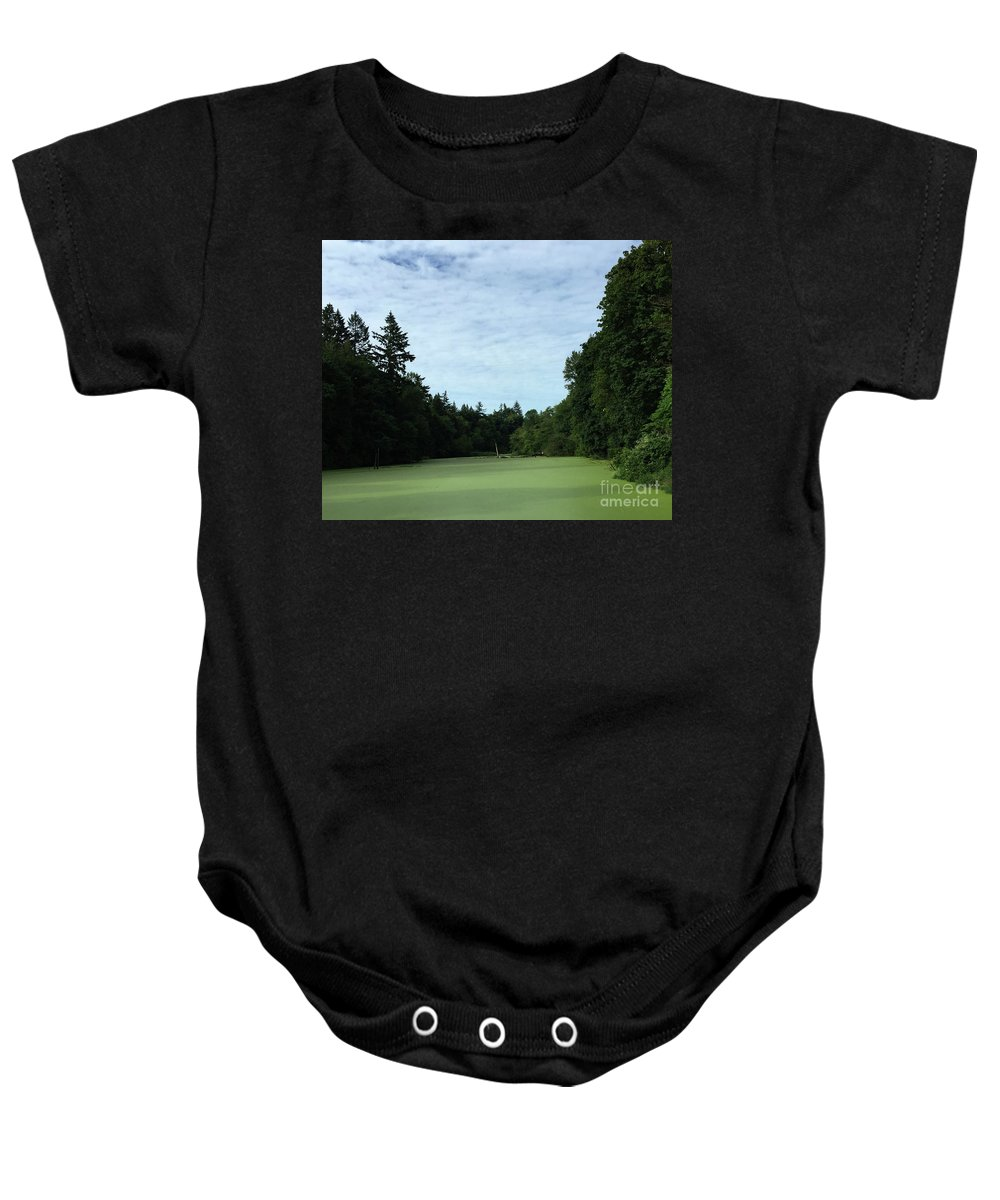 Sky Baby Onesie featuring the photograph River Of Algae by Paula Joy Welter