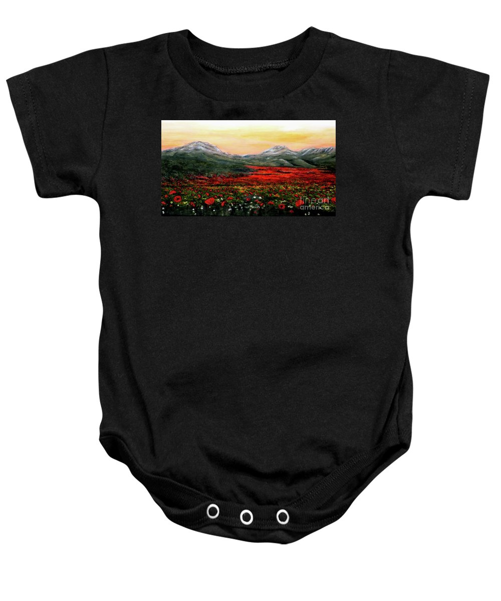 Poppies Baby Onesie featuring the painting River Of Poppies by Judy Kirouac