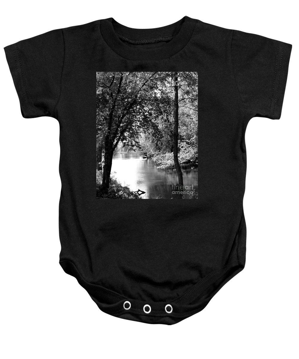 Black & White Baby Onesie featuring the photograph River Passage Through Trees by Paula Joy Welter