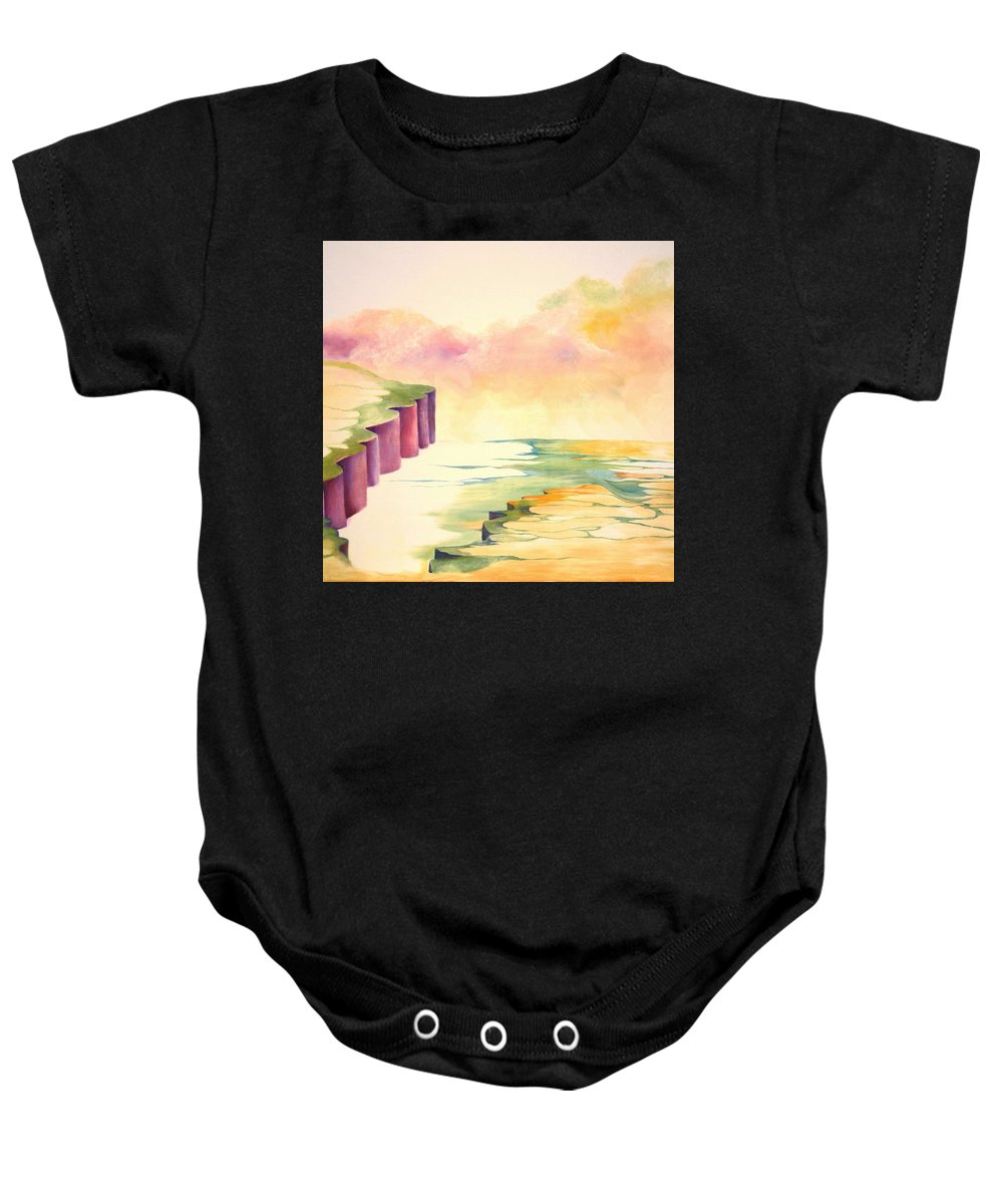 Painting Baby Onesie featuring the painting River by Peggy Guichu