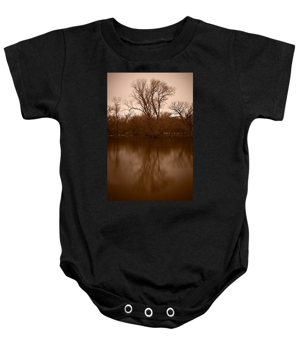 Black Baby Onesie featuring the photograph River Reflections by Steve Gadomski
