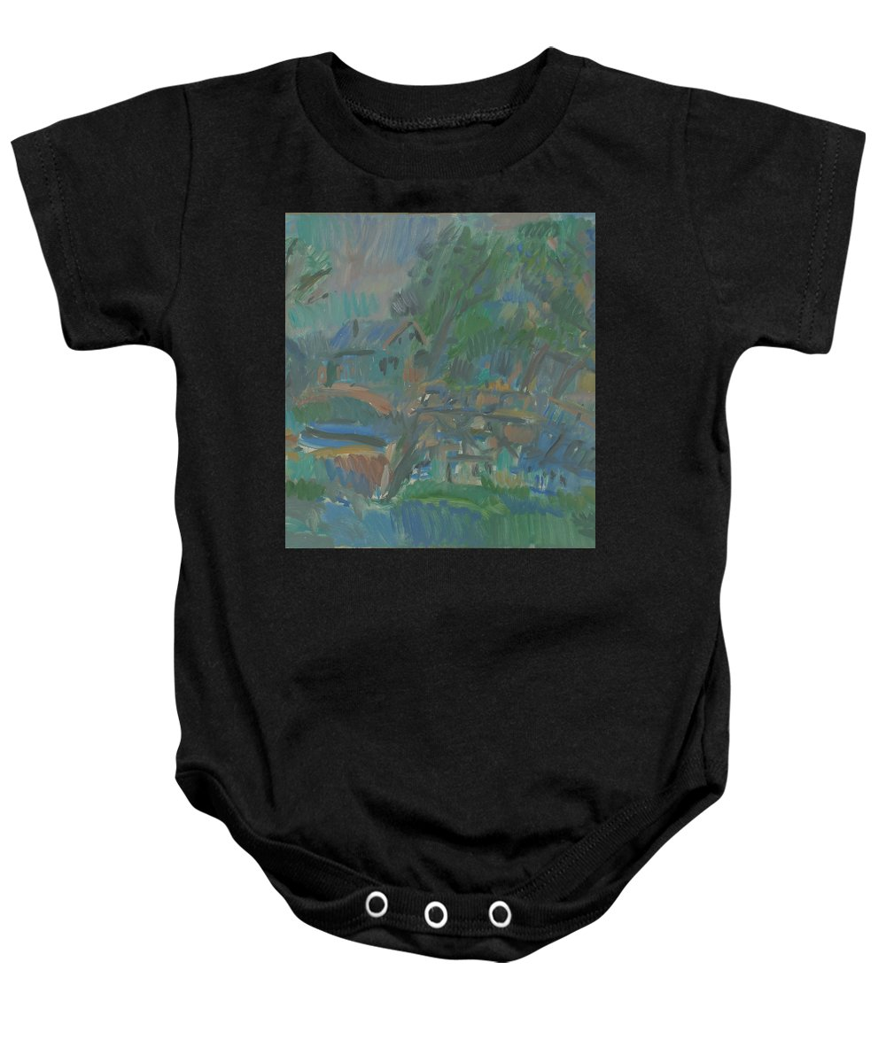 River Baby Onesie featuring the painting Village by Robert Nizamov