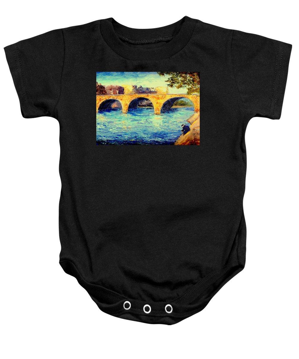 Impressionism Baby Onesie featuring the painting River Seine Bridge by Gail Kirtz