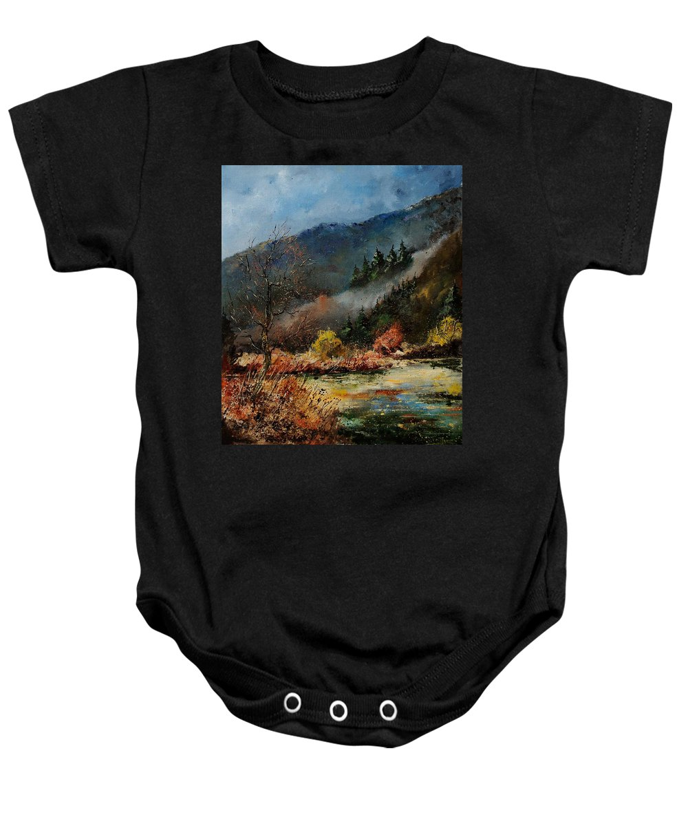 River Baby Onesie featuring the painting River Semois by Pol Ledent