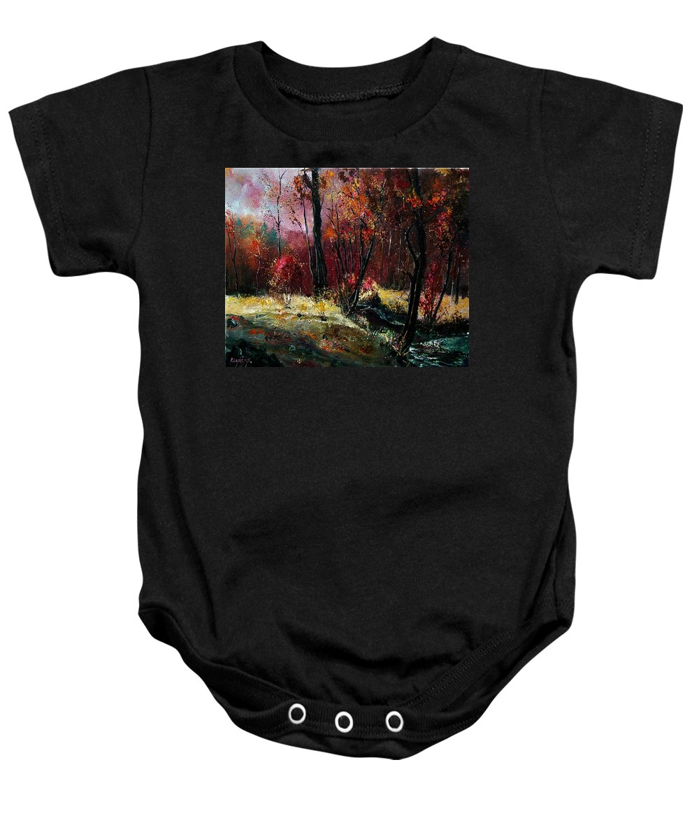 River Baby Onesie featuring the painting River Ywoigne by Pol Ledent