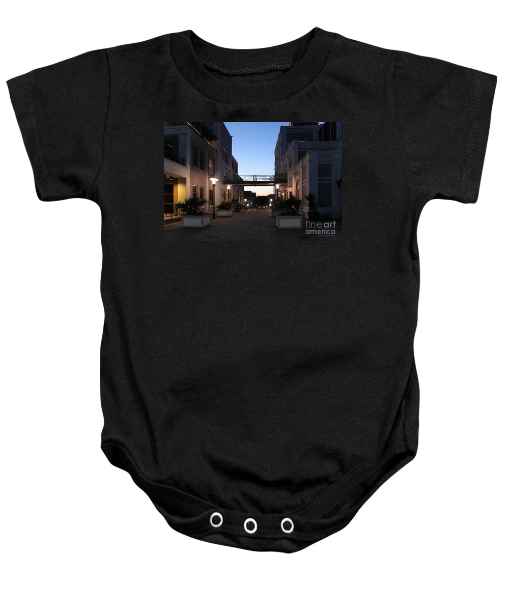 Architecture Baby Onesie featuring the photograph Riverfront At Twilight by Todd Blanchard
