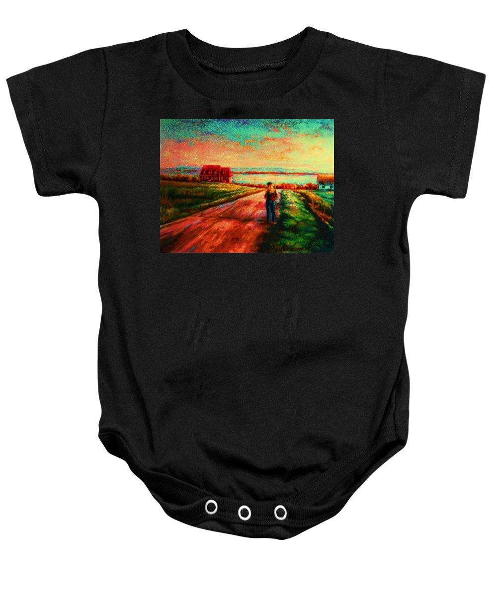 Mystery Road Baby Onesie featuring the painting Road To Red Gables by Carole Spandau