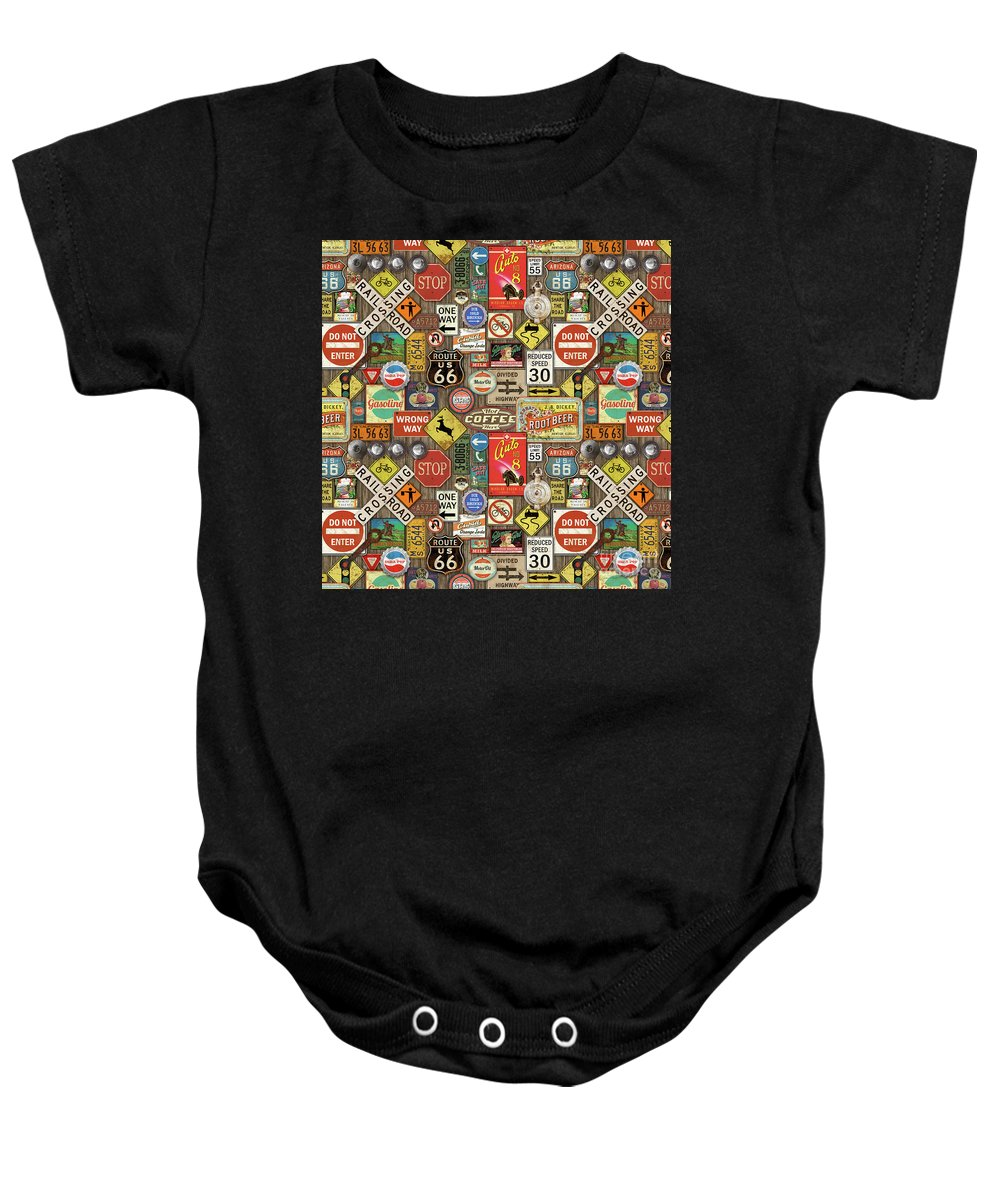 Route 66 Baby Onesie featuring the painting Roads Signs On Wood-jp3958-b by Jean Plout