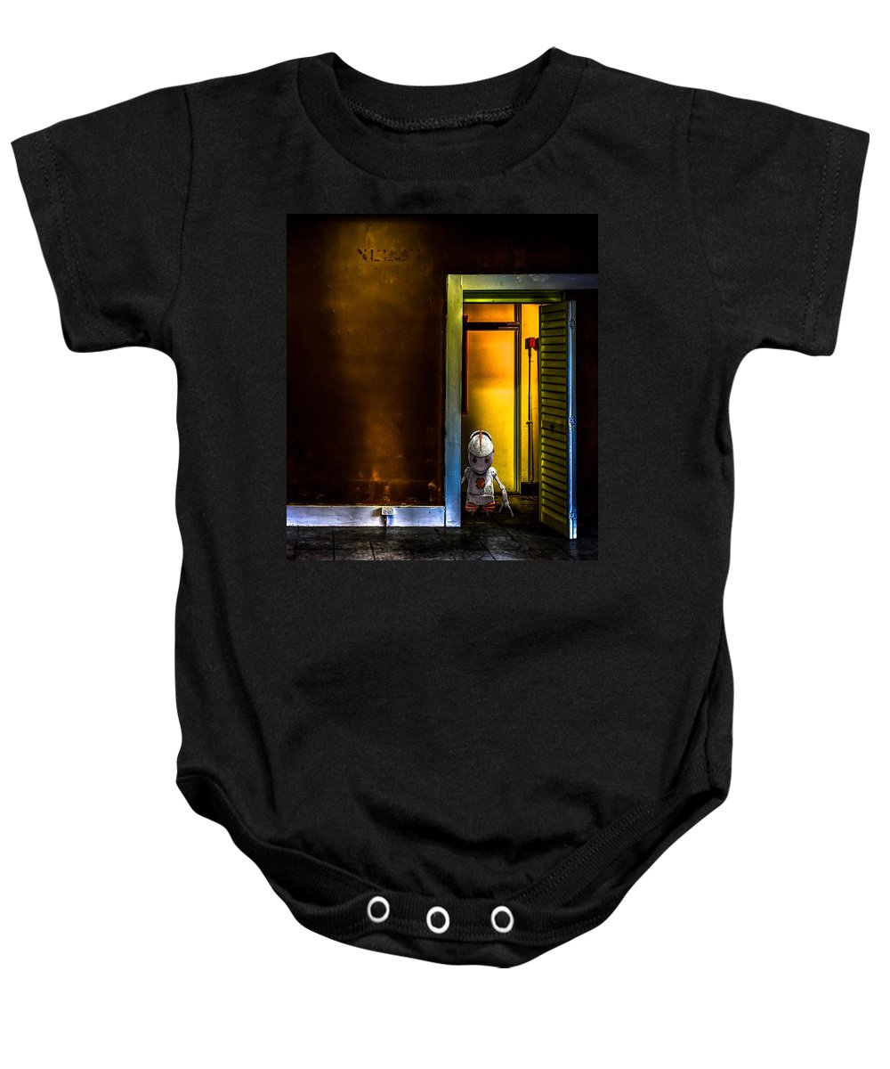 Robot Baby Onesie featuring the photograph Robot In The Closet by Bob Orsillo