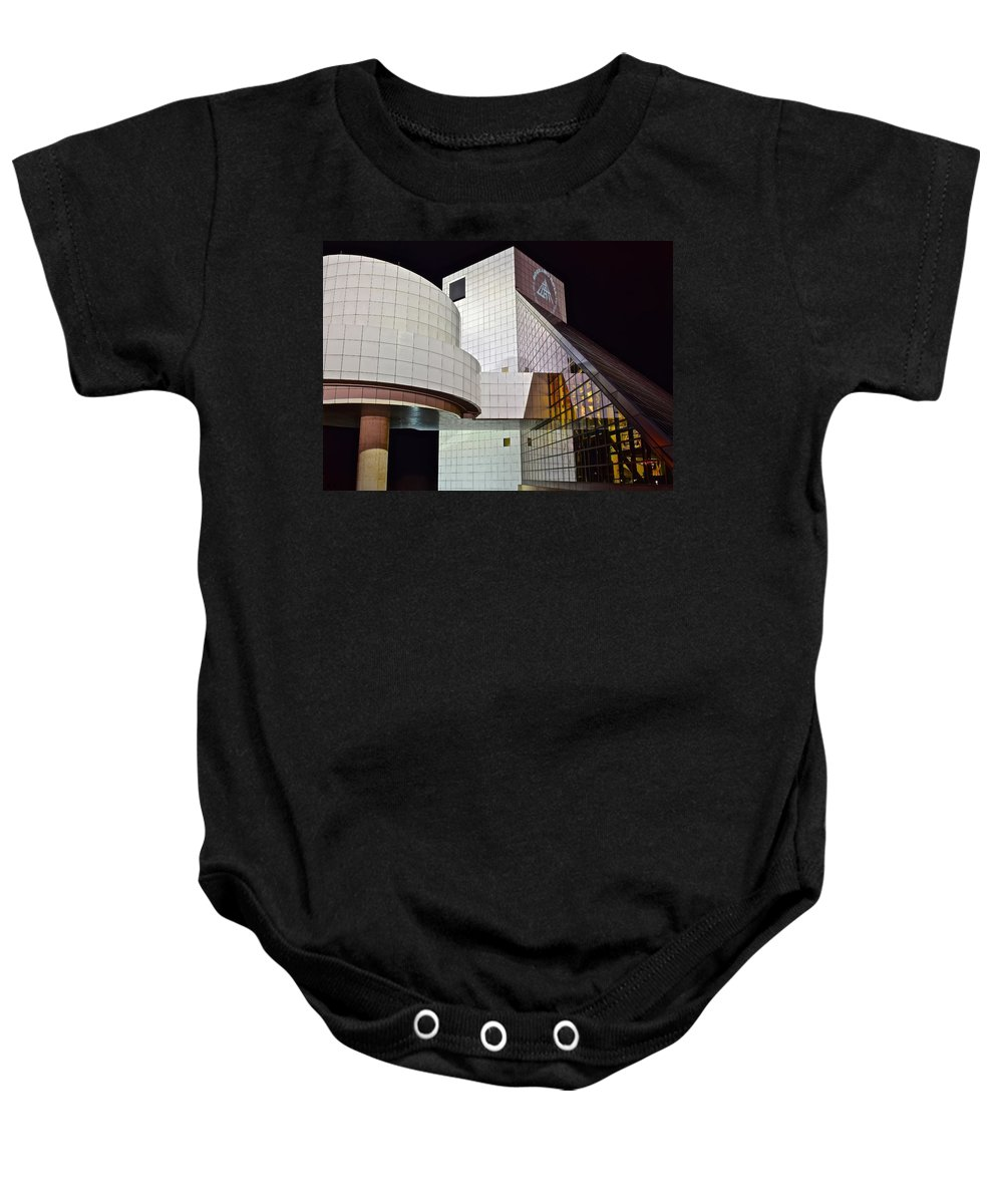 Cleveland Baby Onesie featuring the photograph Rock Music Hall Of Fame by Frozen in Time Fine Art Photography