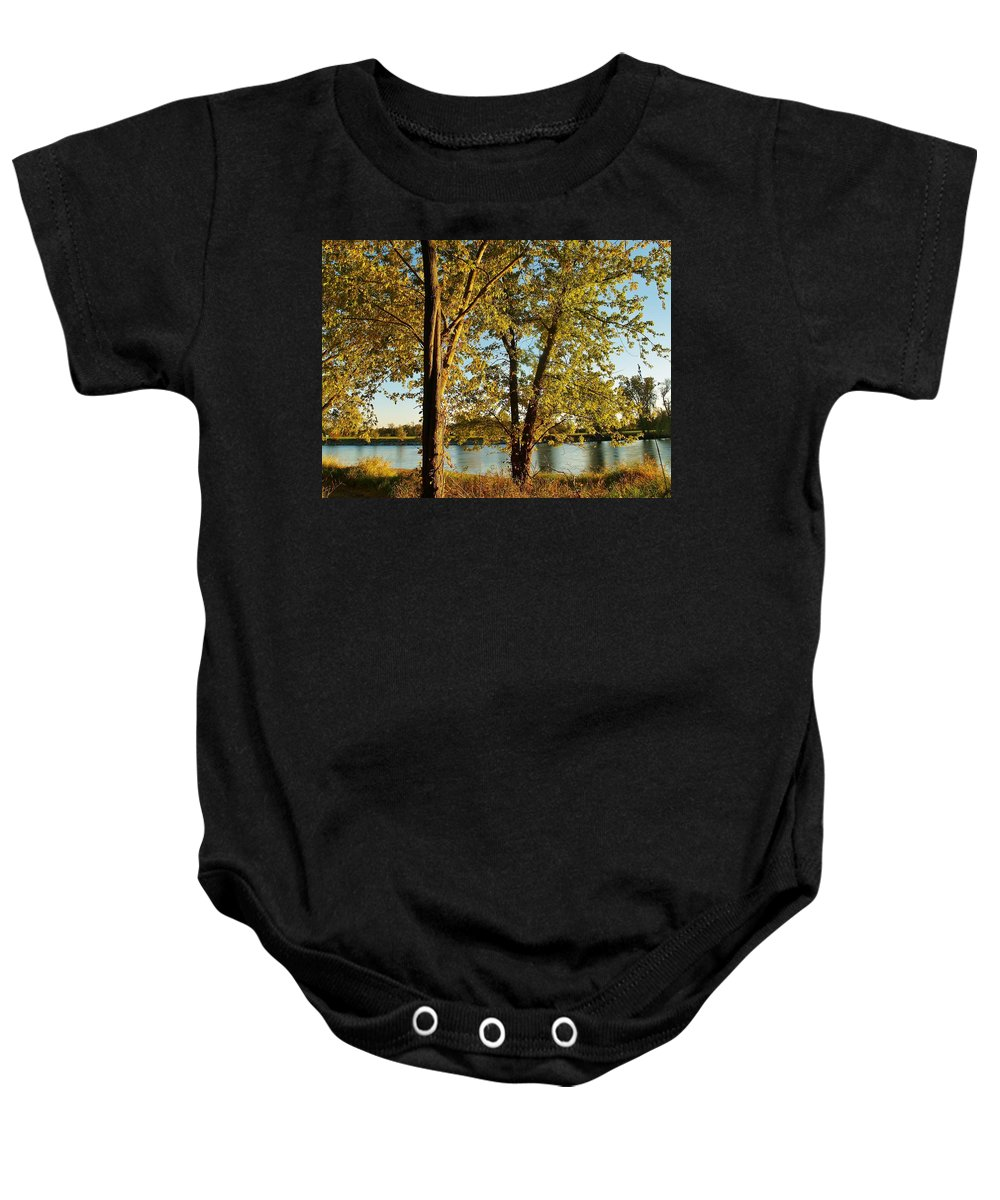 Rock River Baby Onesie featuring the photograph Rock River In October by Denise Irving