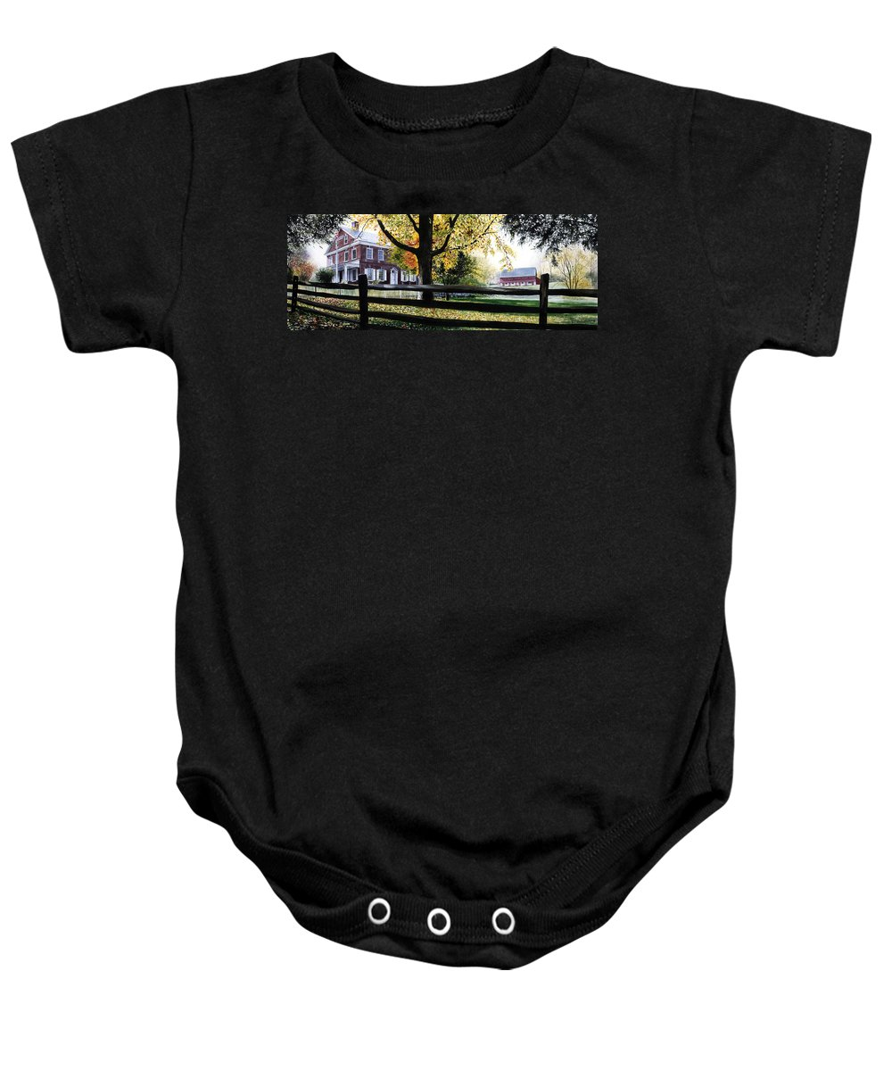 Lancaster County Pa Baby Onesie featuring the painting Rockford In Autumn by Denny Bond