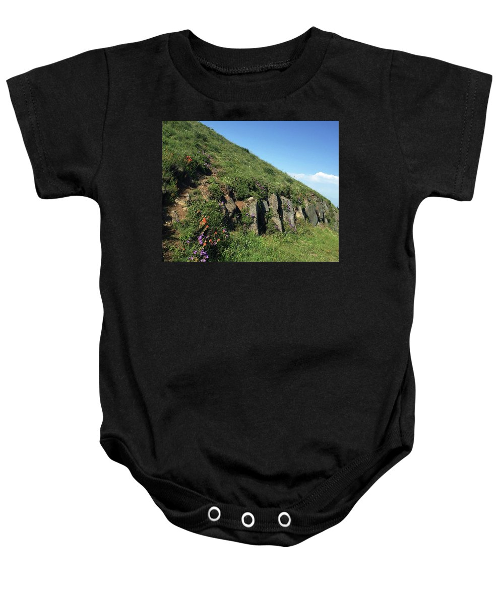 Mary's Peak Baby Onesie featuring the photograph Rocks, Flowers, And Hillside by Paula Joy Welter