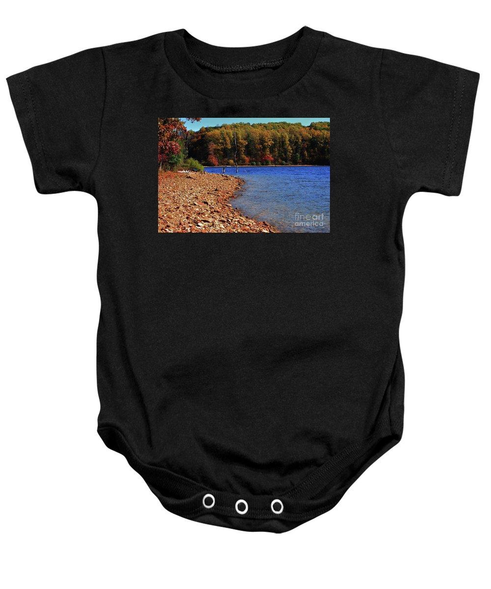 Beach Baby Onesie featuring the photograph Rocky Beach by Lori Tambakis