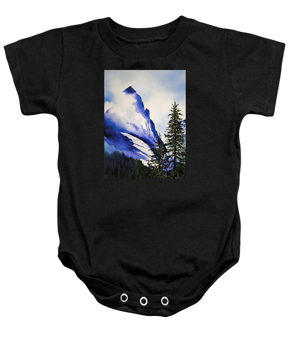 Rocky Mountains Baby Onesie featuring the painting Rocky Mountain High by Karen Stark