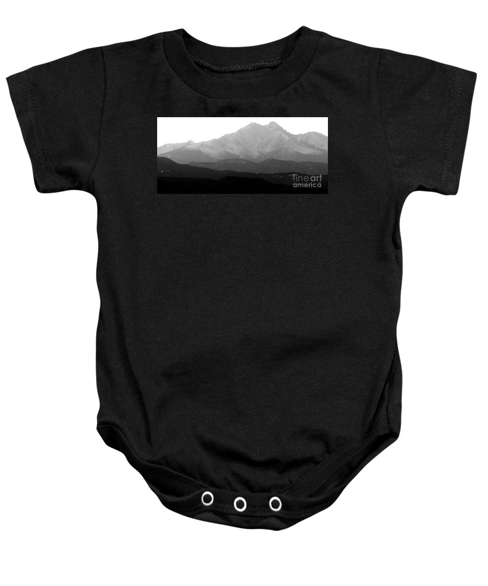Twin Peaks Baby Onesie featuring the photograph Rocky Mountain Twin Peaks Bw by James BO Insogna