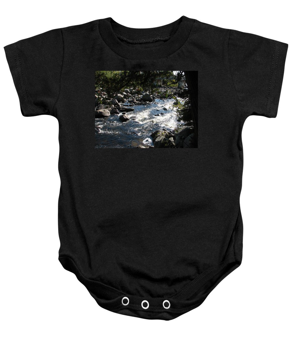 Water Baby Onesie featuring the photograph Rocky Rapids by Kelly Mezzapelle