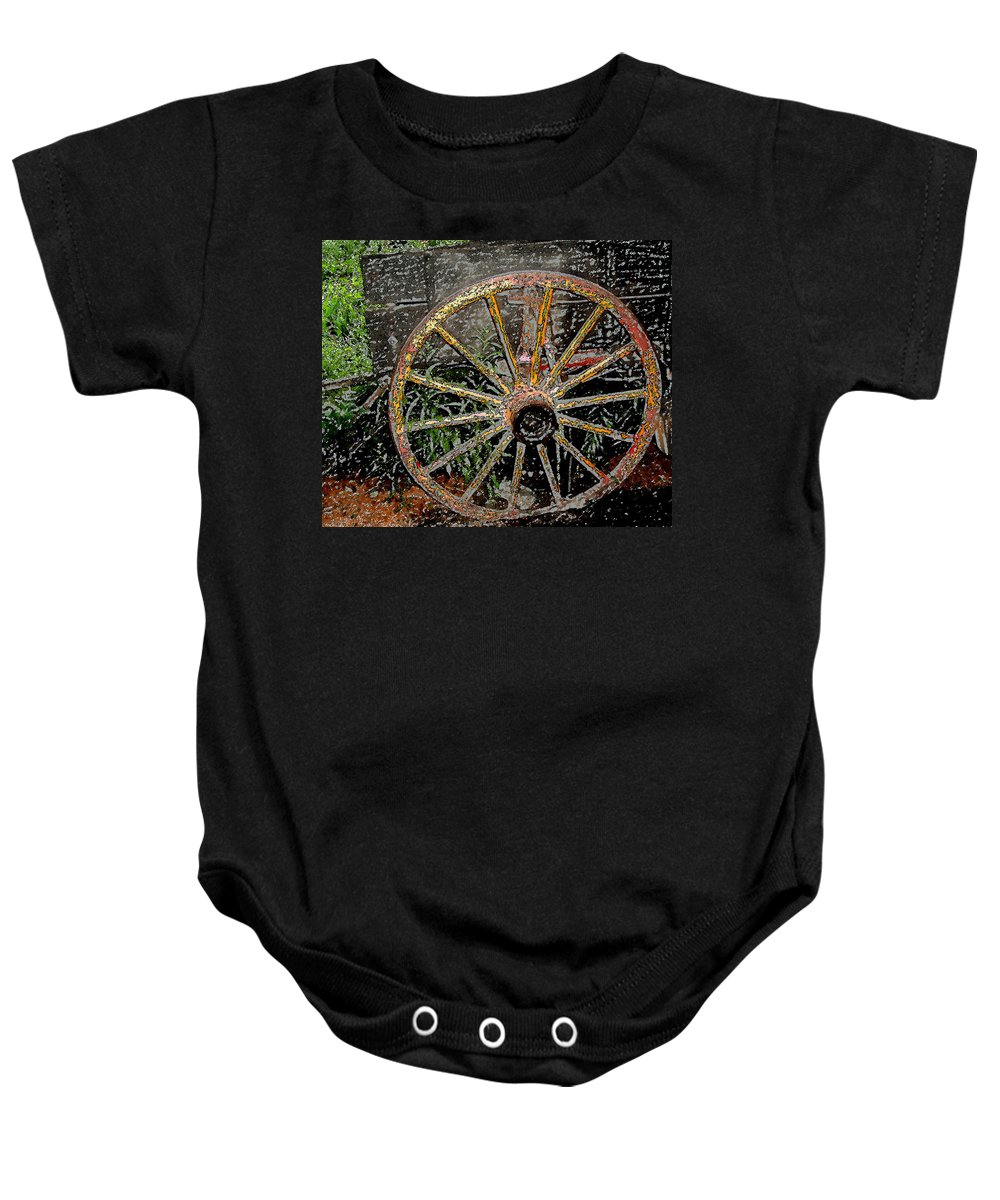 Wagon Wheel Baby Onesie featuring the photograph Rolling No More by Wayne Potrafka