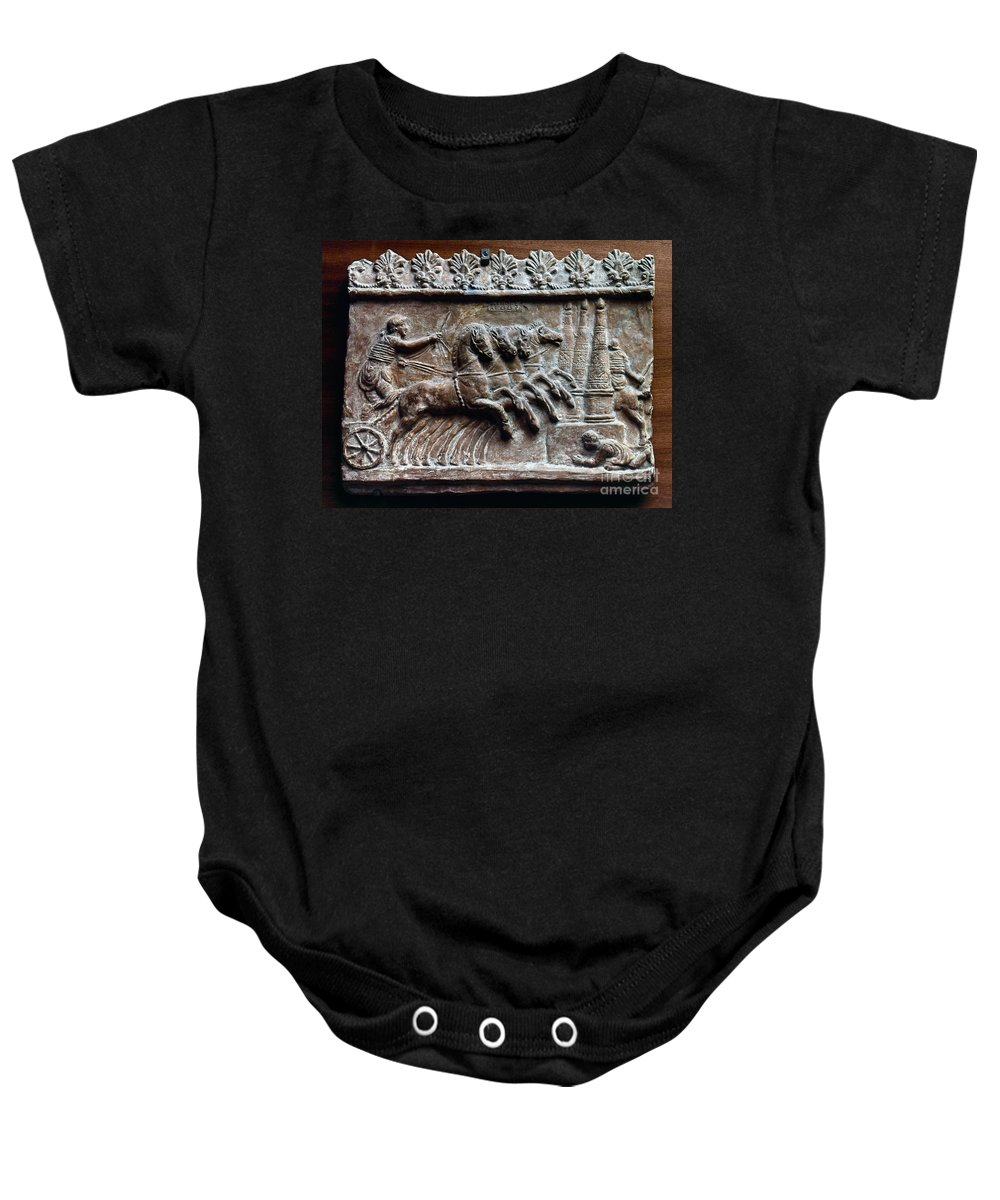 2nd Century Baby Onesie featuring the photograph Roman Relief: Chariot Race by Granger