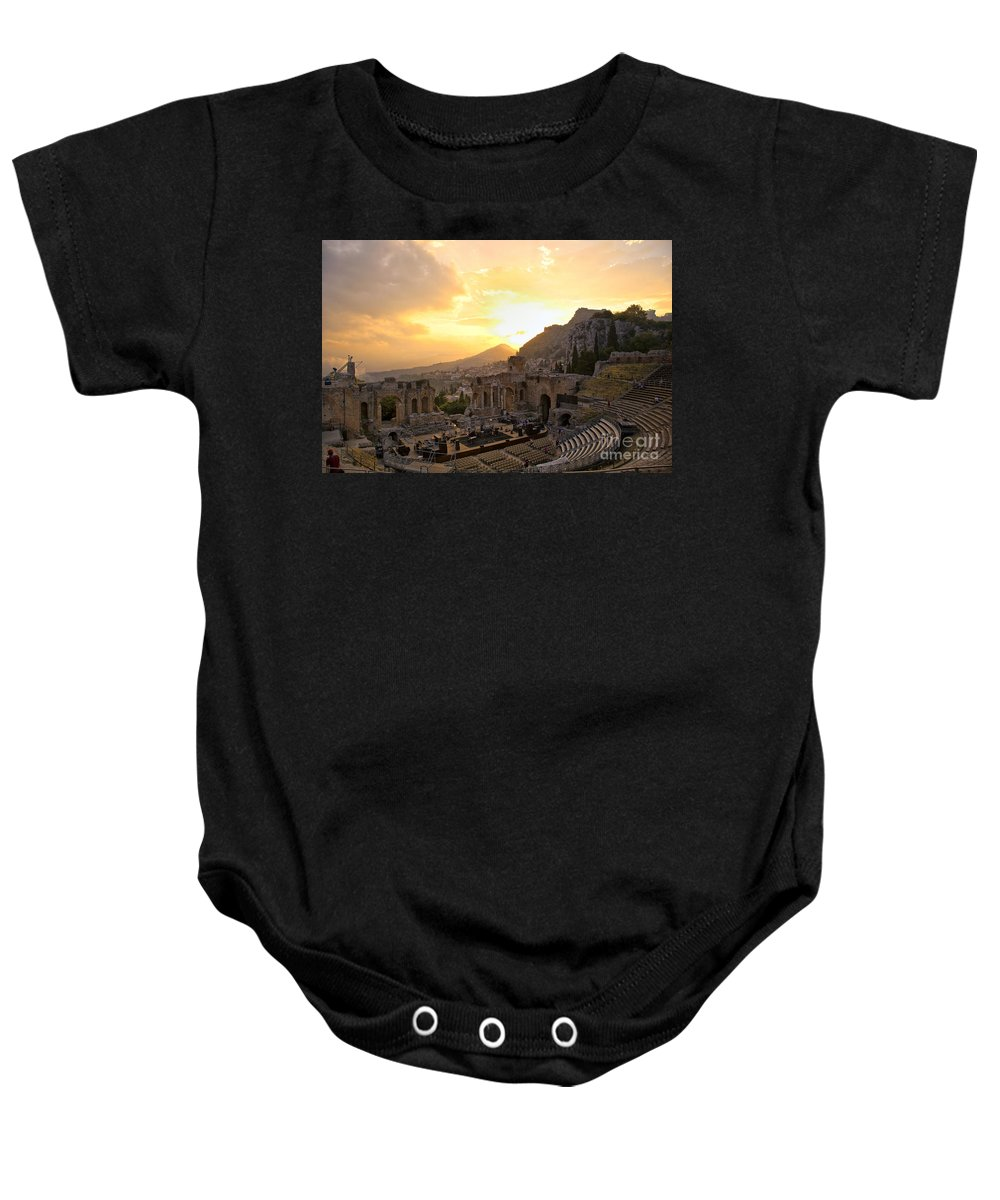 Roman Theater Baby Onesie featuring the photograph Roman Theater In Taormina IIi by Madeline Ellis