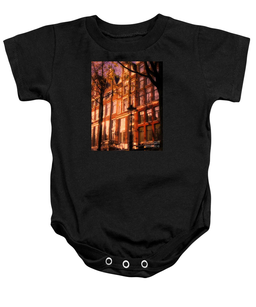 Architecture Amsterdam Baby Onesie featuring the photograph Romantic Amsterdam by Nick Wardekker