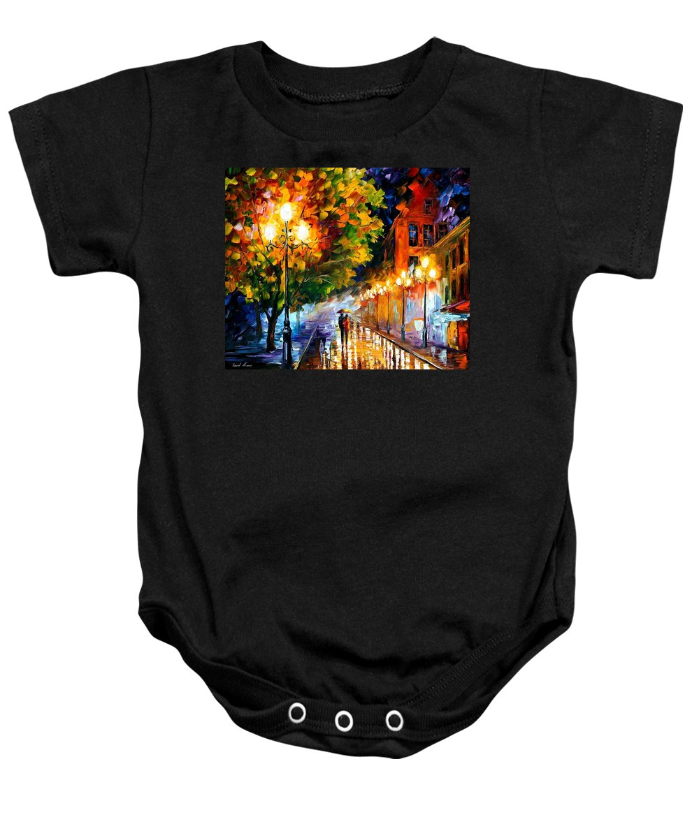 Afremov Baby Onesie featuring the painting Romantic Night by Leonid Afremov