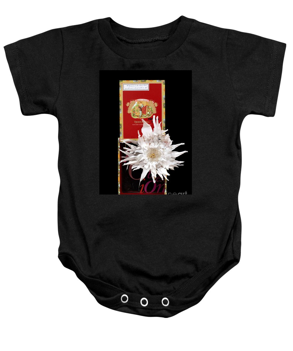 Cigar Box Baby Onesie featuring the mixed media Romeo And Julietta by Jaime Becker