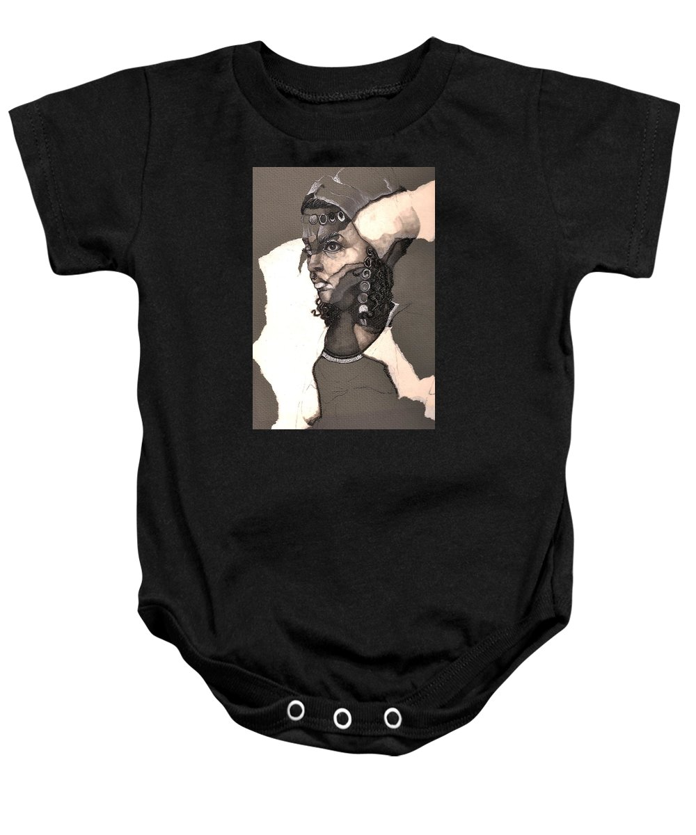 Portrait Baby Onesie featuring the drawing Romni by Nelson F Martinez
