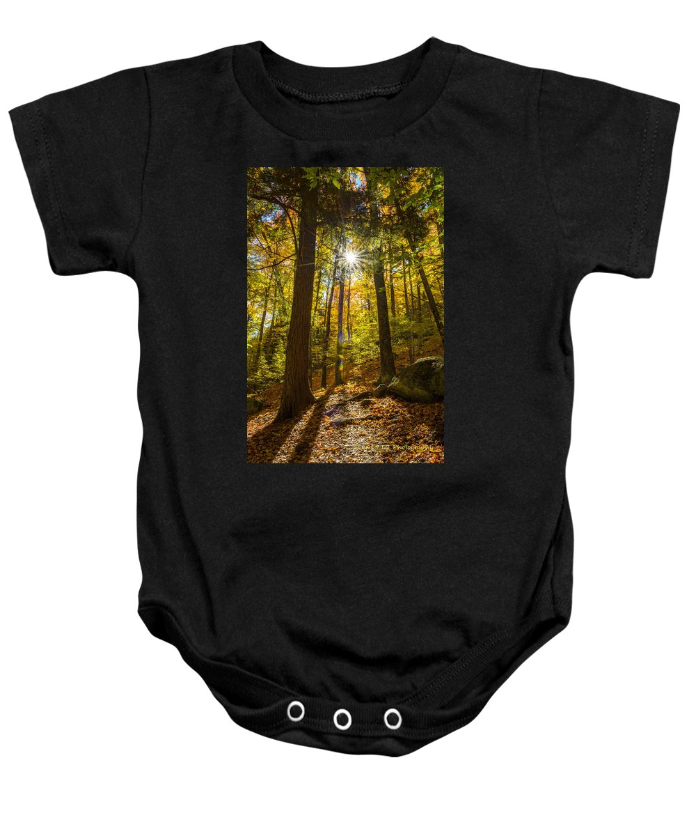 Fall Baby Onesie featuring the photograph Rooster Comb Trail by Eric Thacke
