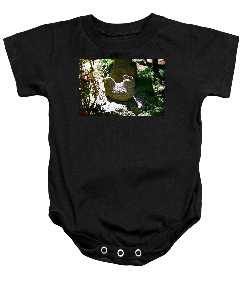 Stone Baby Onesie featuring the photograph Rooster by Dean Triolo
