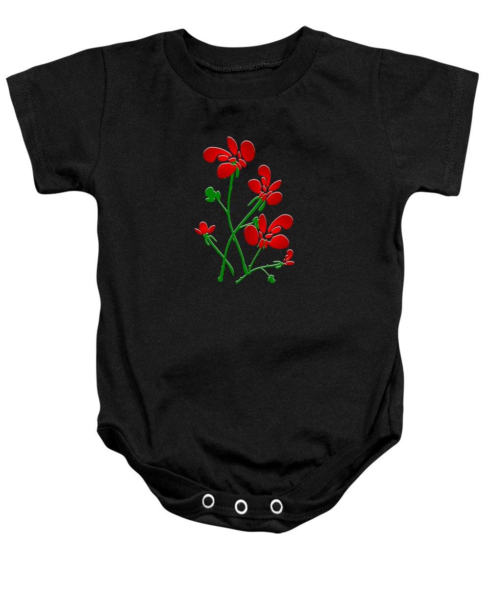Red Baby Onesie featuring the digital art Rooster Flowers by Anastasiya Malakhova