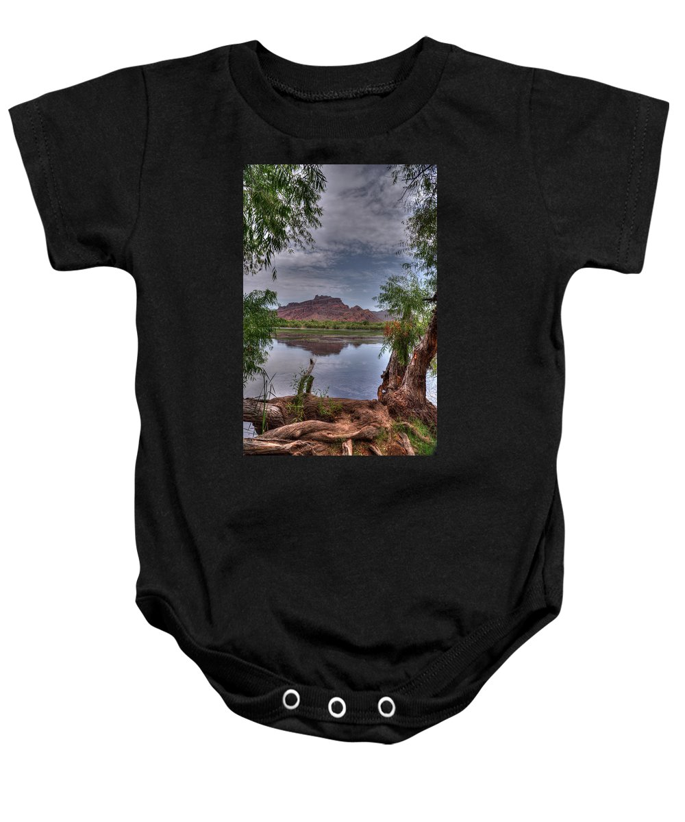Roots Trees Arizona Tonto National Forest Landscape Nature Canvas For Sale Prints For Sale River Mountains Sky Rafael La O Garcia Baby Onesie featuring the photograph Rooted by Rafael La O Garcia