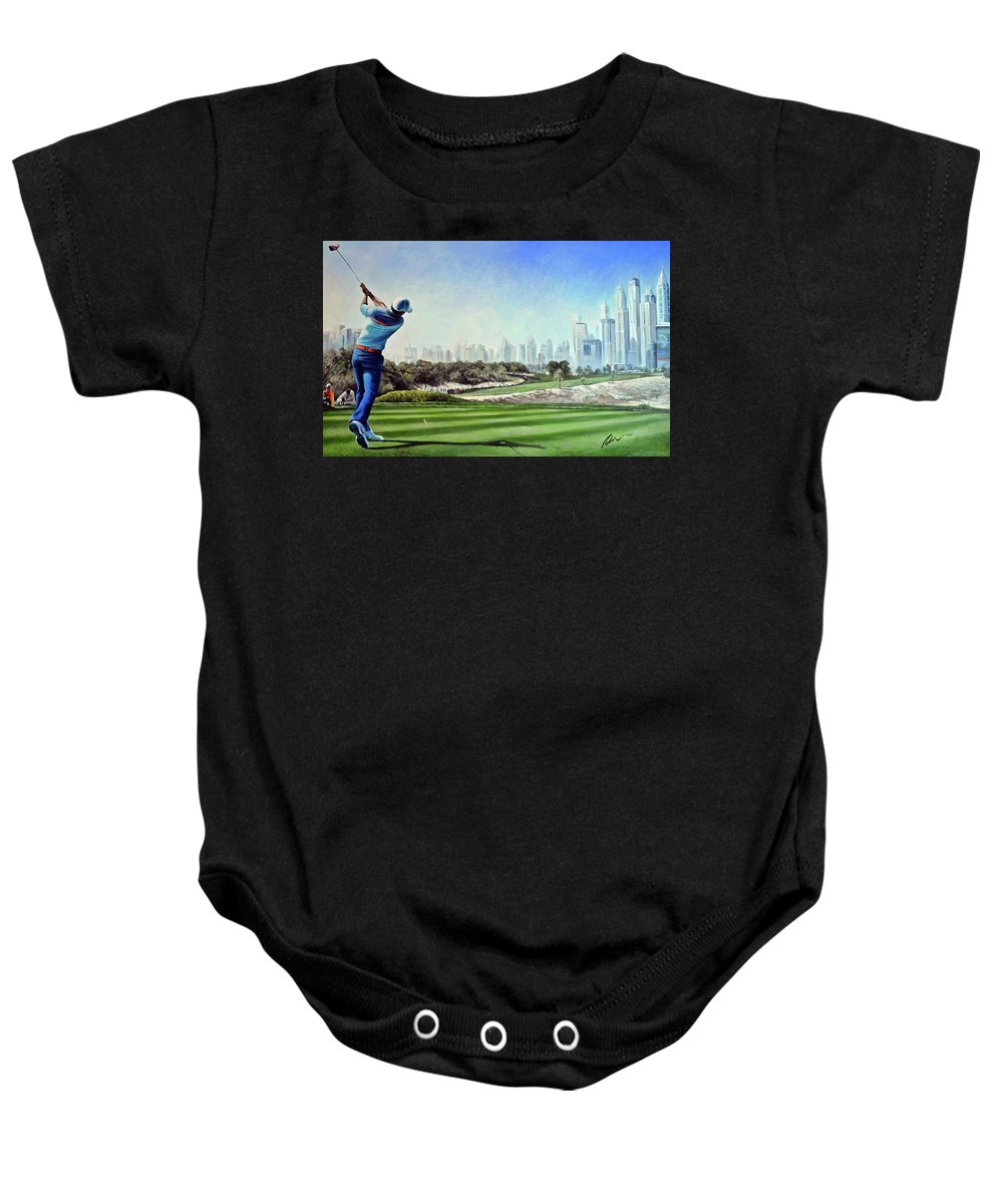 Rory Mcilroy Baby Onesie featuring the painting Rory At Ddc Emirates Gc Dubai 8th 2014 by Mark Robinson