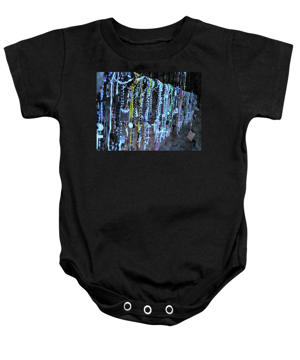 Rosary Baby Onesie featuring the photograph Rosary by Angela Wright