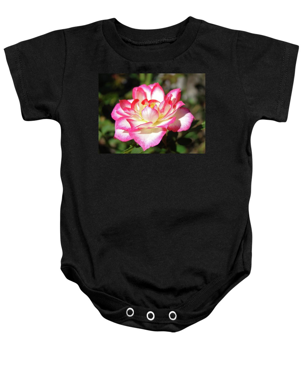 Rose Baby Onesie featuring the photograph Rose Art Prints Pink White Roses Garden Baslee Troutman by Baslee Troutman