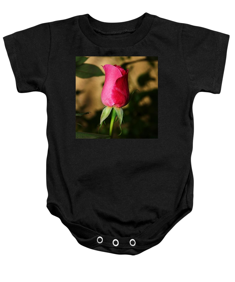 Rose Baby Onesie featuring the photograph Rose Bud by Anthony Jones
