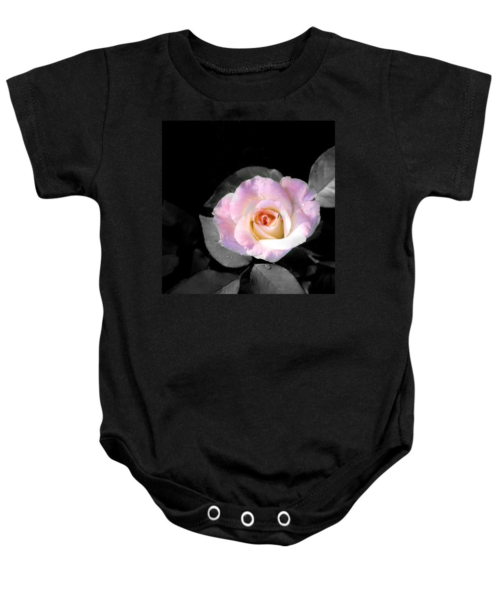 Princess Diana Rose Baby Onesie featuring the photograph Rose Emergance by Steve Karol